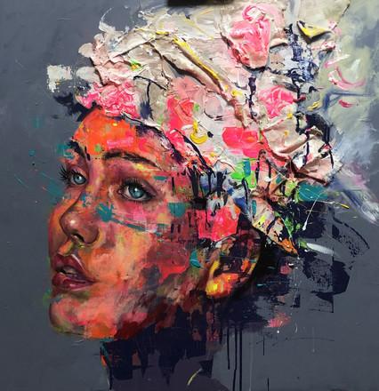 HUM XIV, acrylic on canvas. (80x80xcm)