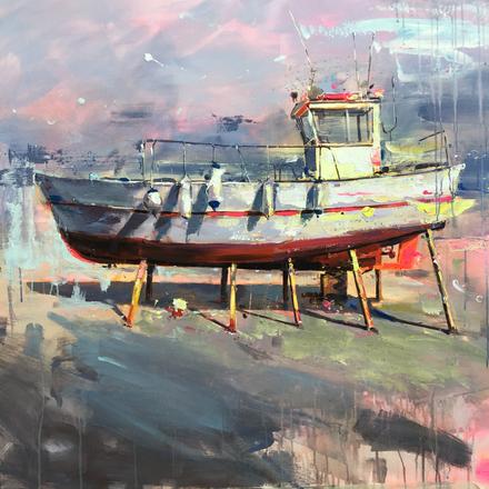 BOAT III, acrylic over canvas. (100x100cm)