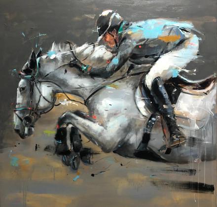 JUMP II, acrylic over canvas. (120x120cm)