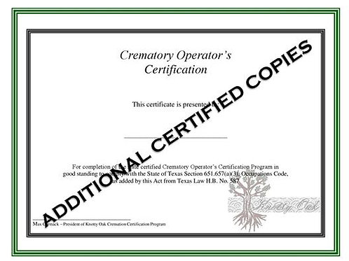 Additional Certified Copy