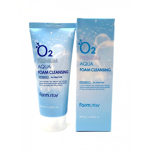Кислородная пенка для очищения кожи Farmstay O2 Premium Aqua Foam Cleansing