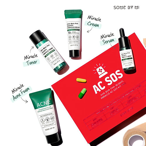 Набор для проблемной кожи с AHA/BHA/PHA кислотами 30 Days Miracle AC SOS Kit