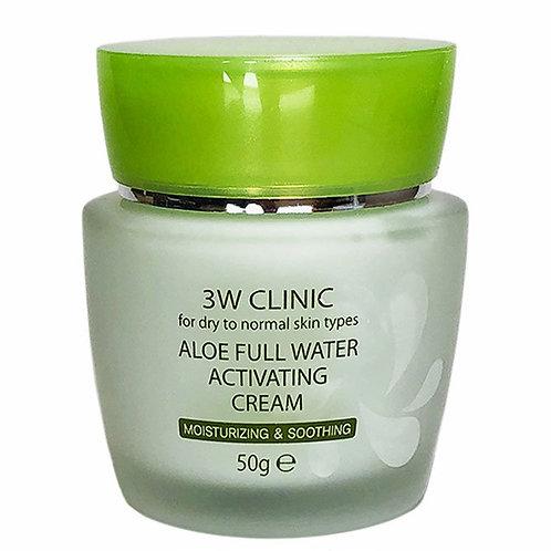 Увлажняющий и успокаивающий крем с алоэ 3W Clinic Aloe Full Water Activating Cre