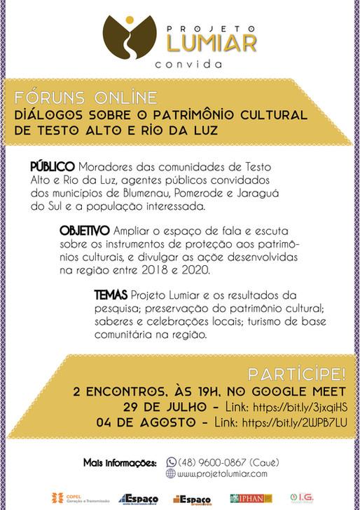 Fóruns Online - Diálogos sobre o Patrimônio Cultural de Testo Alto e Rio da Luz