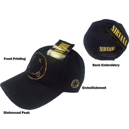 NIRVANA UNISEX BASEBALL CAP: SMILEY (DISTRESSED)