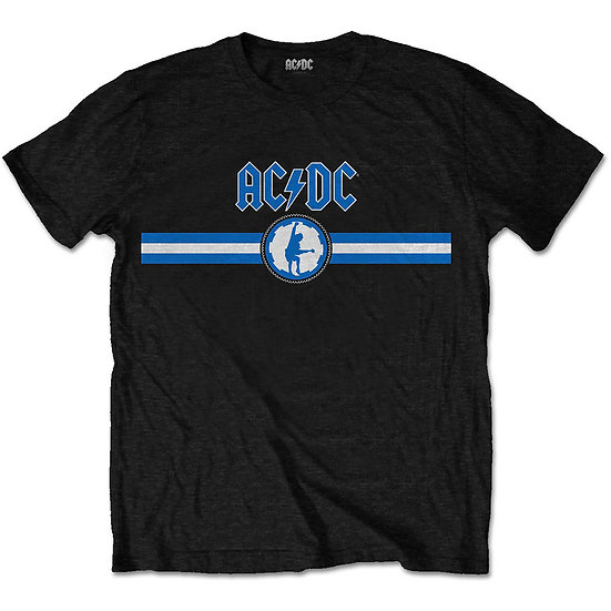 AC/DC UNISEX TEE: BLUE LOGO & STRIPE
