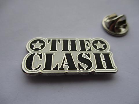 The CLash Logo B/W/Silver  Enamel Badge
