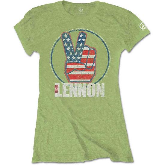 JOHN LENNON LADIES TEE: PEACE FINGERS US FLAG