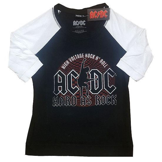 AC/DC UNISEX RAGLAN TEE: HARD AS ROCK