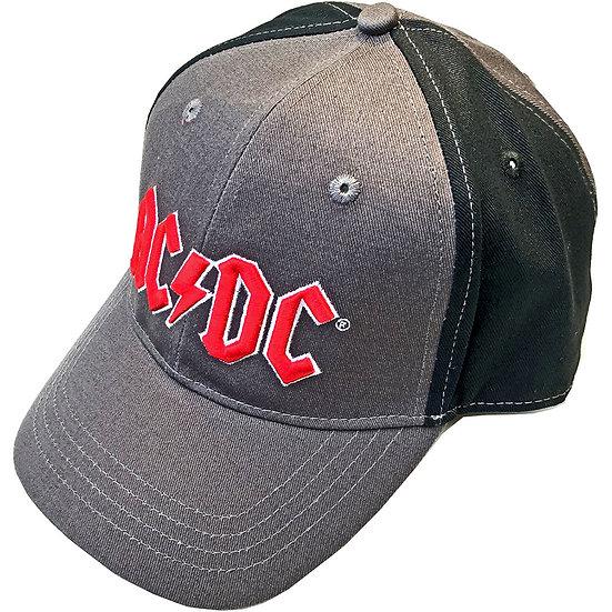 AC/DC UNISEX BASEBALL CAP: RED LOGO (2 TONE)