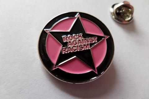 Pink Rock Against Racism Enamel Badge