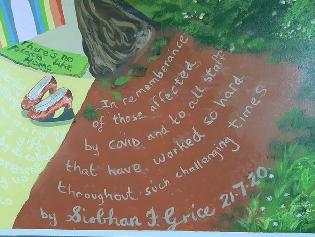 Detail in Mural for Wellbeing Tree.  Words written by staff @ The Royal Glamorgan Hospital, Lllantrisant.