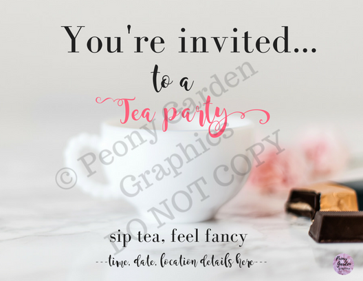 Tea Party Invite download-PDFfile