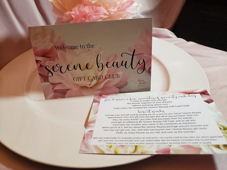 Serene Gift Club/Reward Program Card