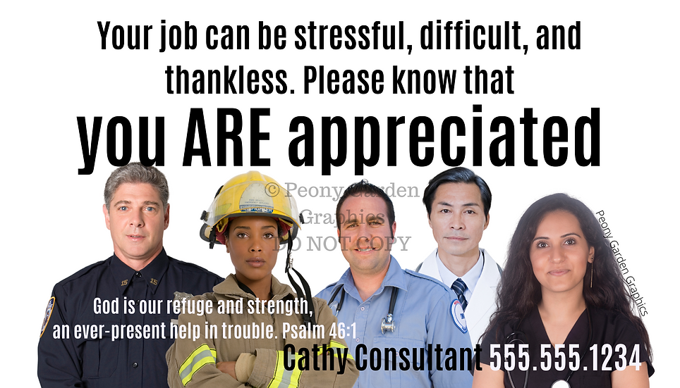Personalized First Responder Appreciation Cards