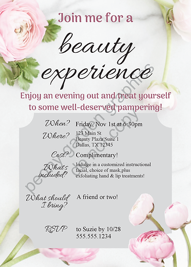 Editable Invite for the Beauty Experience--Download and Edit
