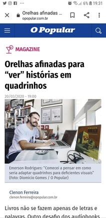 """DIGITAL - Matéria do jornal  O Popular abordando o audiolivro da HQ """"Cidade Buraco""""."""
