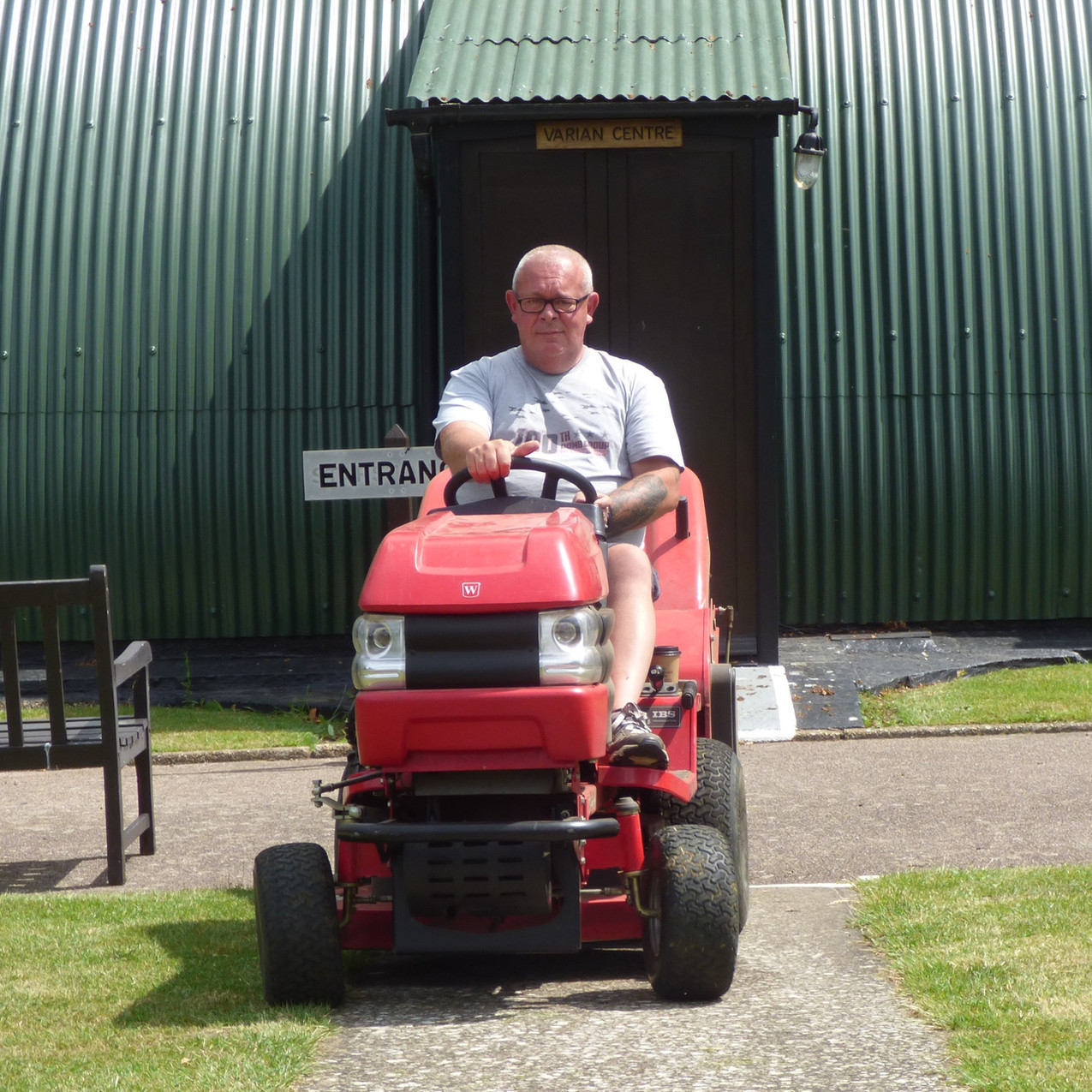 Michael mowing the lawns