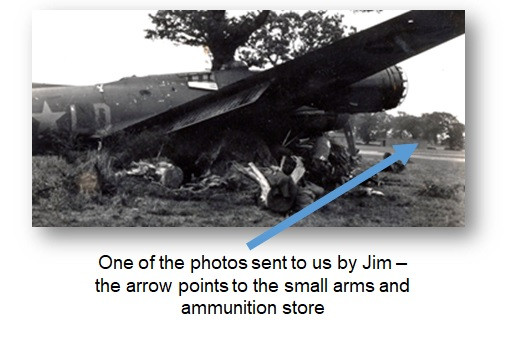 One of the photos sent to us by Jim – the arrow points to the small arms and ammunition store.