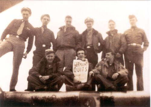 The Lee Jacobs crew of the 100th Bomb Group on VE Day