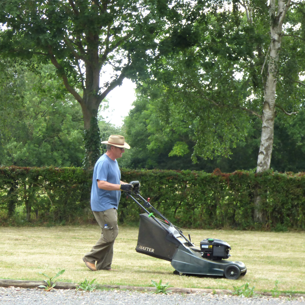 Clive mowing the grass