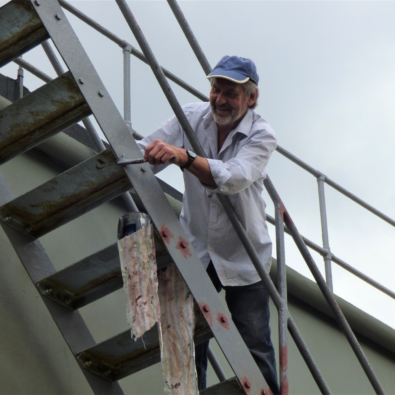 Brian on the control tower stairs