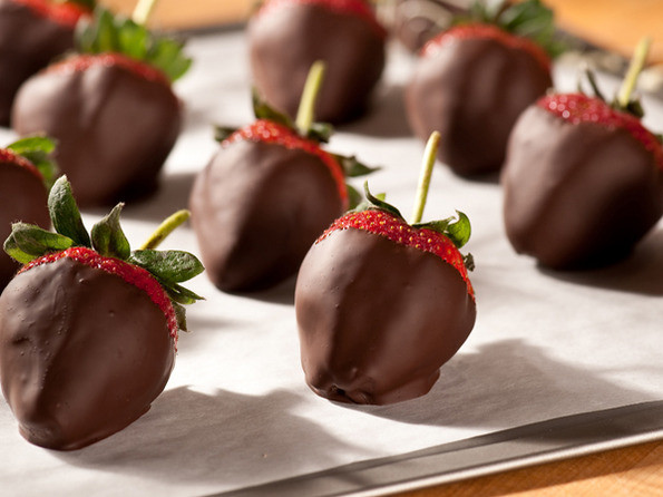 Bittersweet Chocolate Covered Strawberries on a cooking sheet
