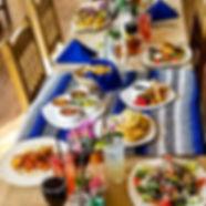 Latin food garish table setting