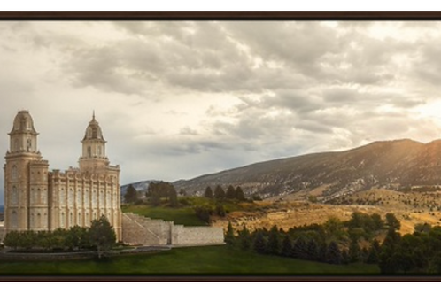 "Manti Temple Canvas in Floating Frame 60""x20"""