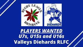 PLAYERS WANTED - U7s, U15s & U16s - Valleys Diehards
