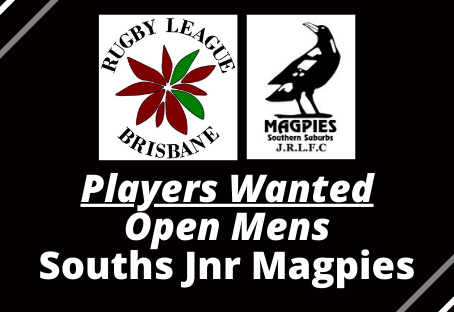 OPEN MENS PLAYERS WANTED - Souths Jnr Magpies