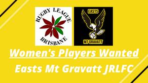 Opens Women's Players Wanted - Easts Mt Gravatt JRLFC