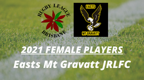 2021 FEMALE PLAYERS - Easts Mt Gravatt JRLFC