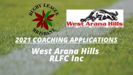 2021 Coaching Applications - Wests Arana Hills RLFC Inc