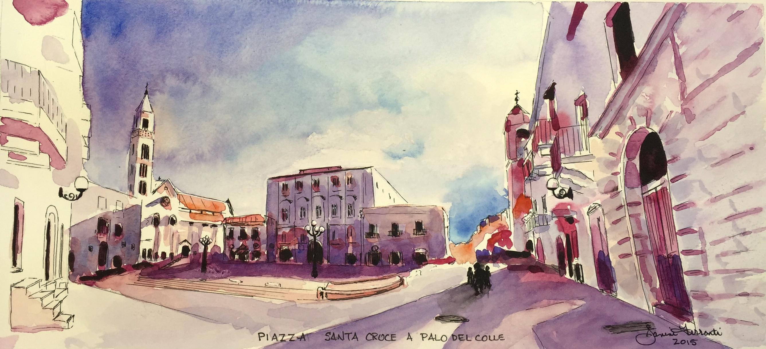 """""""Piazza Santa Croce a Palo Del Colle"""" 7x15 Watercolour"""
