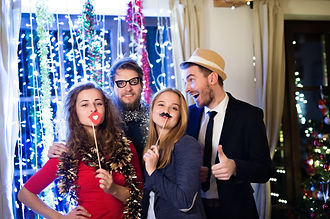 Hipster friends celebrating New Years Ev