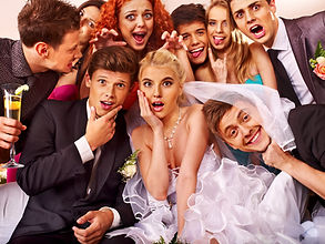 Bride and groom in photobooth. Wedding..
