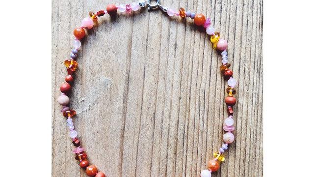 Steinkette rosa-rot