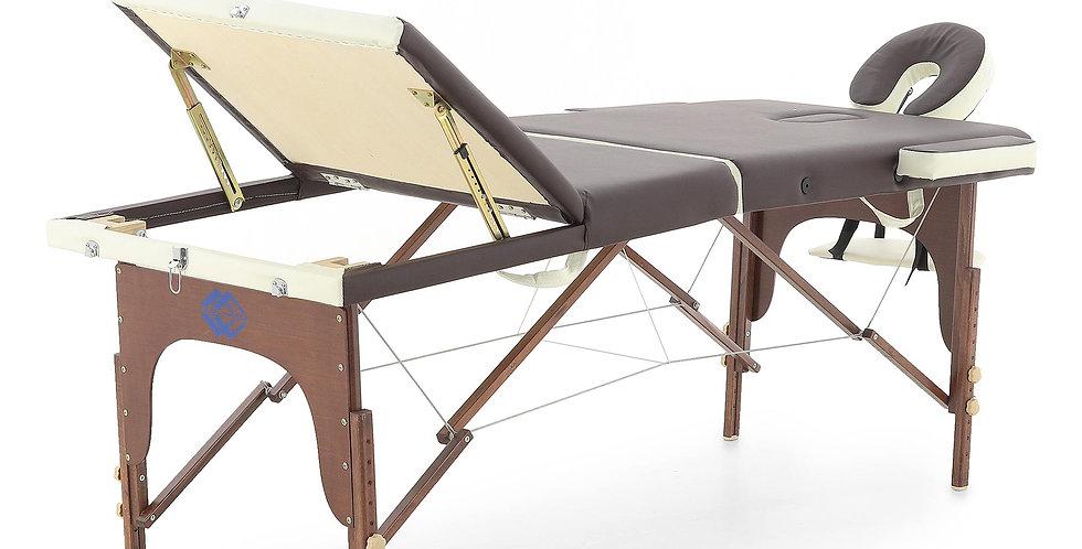 Массажный стол складной деревянный  JF-AY01 3-х секционный (темная рама)