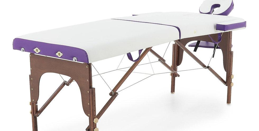 Массажный стол складной деревянный  JF-AY01 2-х секционный (темная рама)