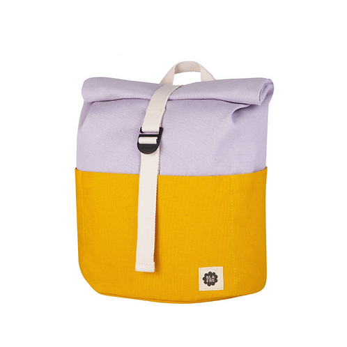 Roll Top Backpack - Yellow/Light Purple