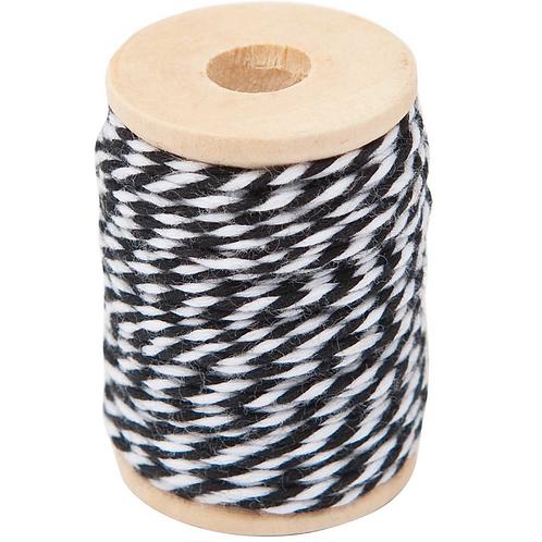Black - White Cotton Twine