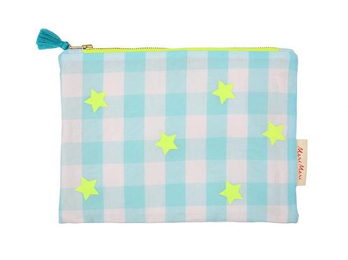 BLUE & NEON GINGHAM POUCH