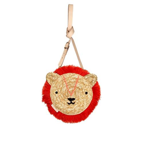 Lion Cross Body Straw Bag