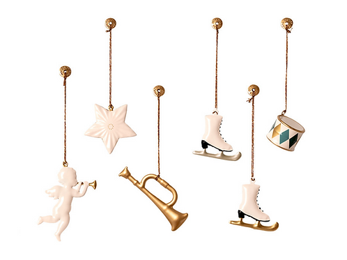 Metal Ornaments in Box - White/Gold