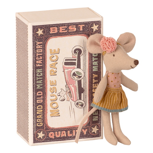 Little Sister Mouse with Hairband in Matchbox