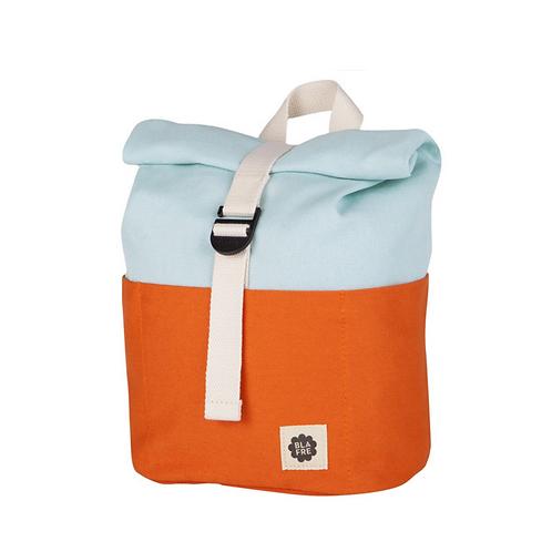 Roll Top Backpack - Orange/Light Blue