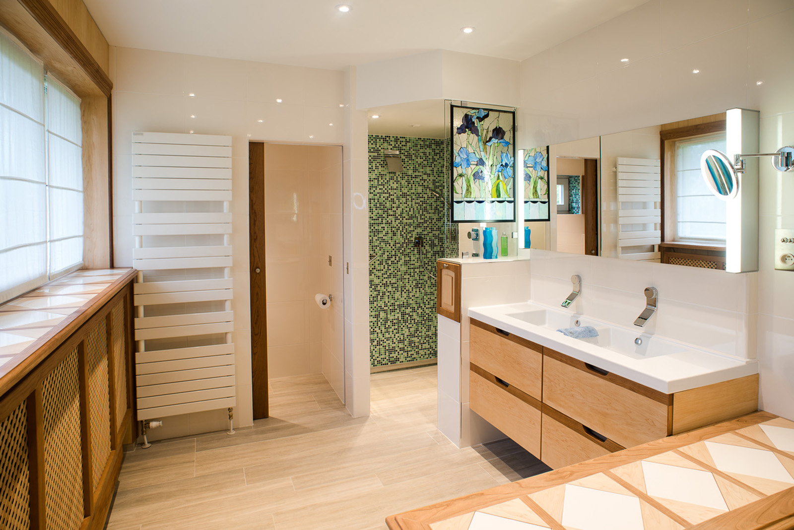Cherry wood & maple wood bathroom