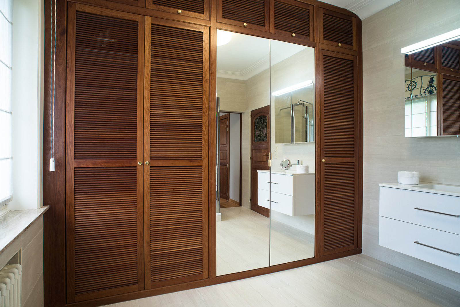 Cherry wood bathroom wardrobe