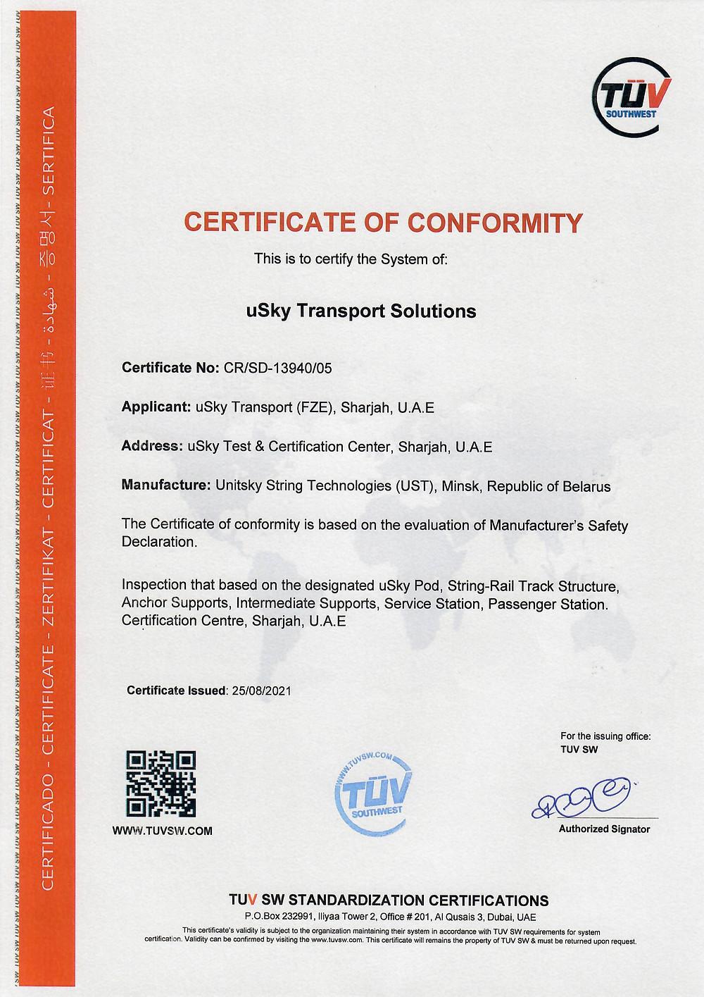 TUV SW Certificate of Conformity